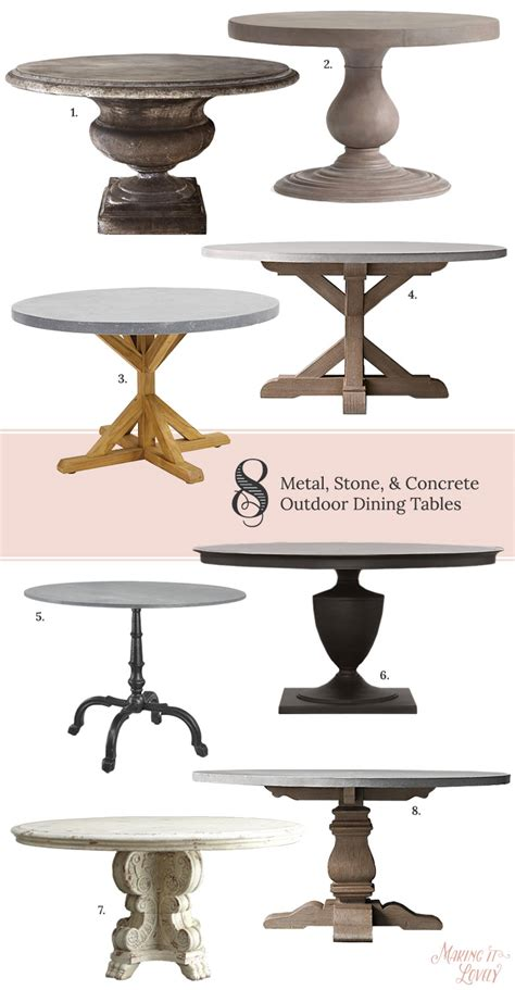 metal stone concrete outdoor dining tables