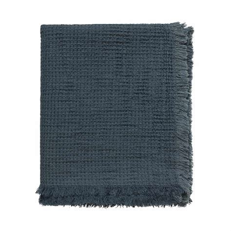 Linum Kawai Textured Linen Throw in Slate Grey   The