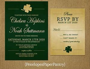 irish wedding invitationgold shamrockemerald green and With gold wedding invitations ireland