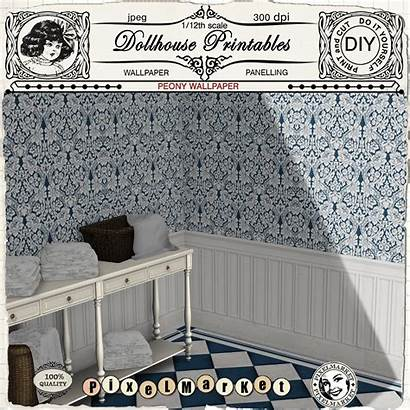 Wainscoting Dollhouse Printable Miniature Floral 12th Sheet