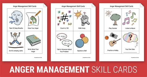anger management skill cards worksheet therapist aid