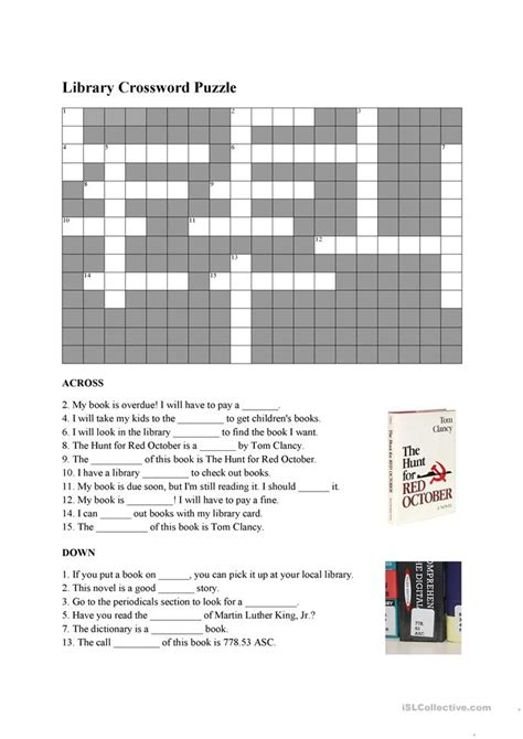 library vocabulary crossword worksheet free esl