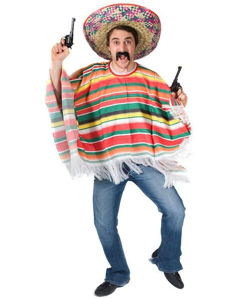 Rainbow Mexican Poncho Mens Costume   MEXICO