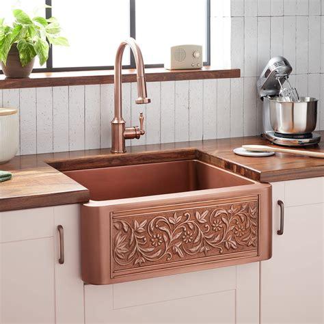 vine design copper farmhouse sink kitchen