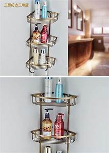 Three Tier Bathroom Shelf Copper Bathroom Corner Basket ...