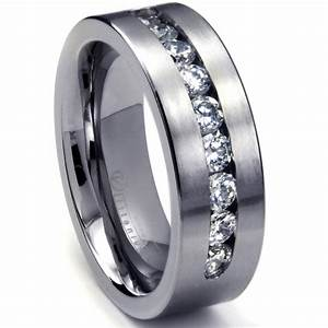 Mens white gold rings wedding promise diamond for Wedding rings and bands