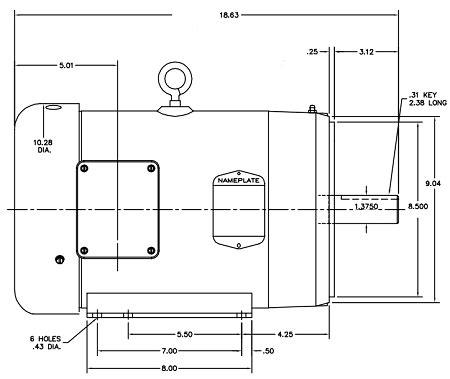 Baldor High Efficiency Wiring Diagram by 10 Hp Motor Frame 215tc Tefc Cat Cem3714t
