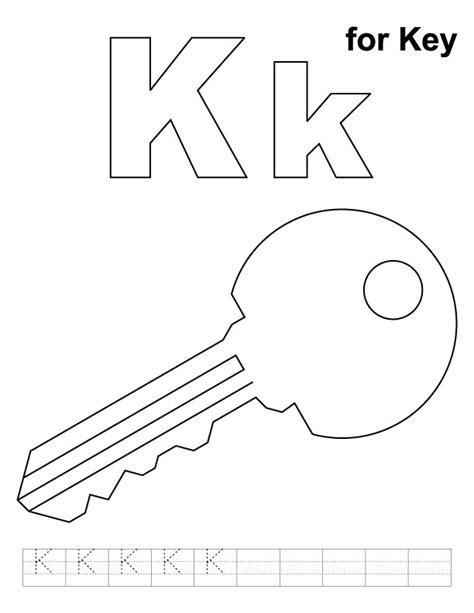 key coloring page k for key coloring page with handwriting practice