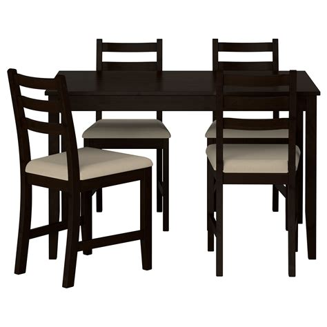 ikea dining table and chairs lerhamn table and 4 chairs black brown ramna beige 118x74