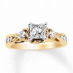 jared diamond engagement ring 1 ct tw princess cut 14k With 1 ct wedding ring