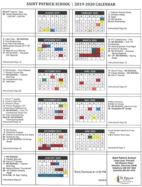 school calendar st patrick catholic church school mauston wi