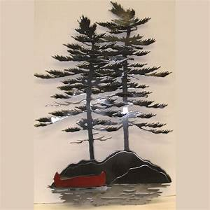 Wall Trees with Red Canoe - The Corner Cabinet