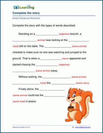 parts  speech worksheet complete  story  learning