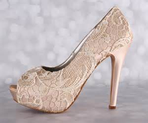shoe wedding blush wedding shoes platform peep toe bridal heels with a ivory lace overlay
