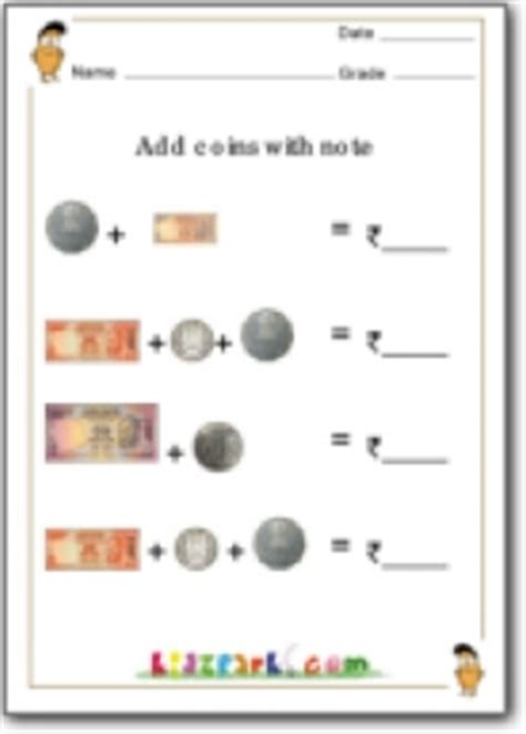 add coins  noteadding money math worksheetsteachers