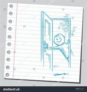 Drawing Man Opening Door Stock Vector 80778010 - Shutterstock