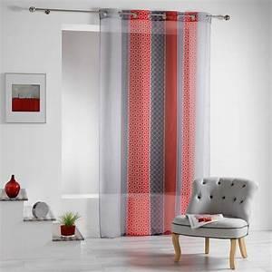 Rideau Rouge Et Noir : voilage 140 x 240 cm galliance rouge voilage eminza ~ Melissatoandfro.com Idées de Décoration