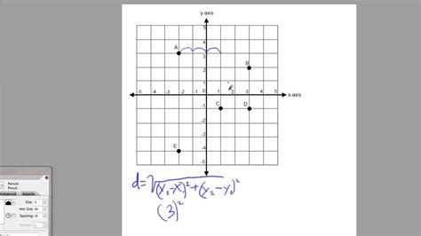 grid coordinate points distance between