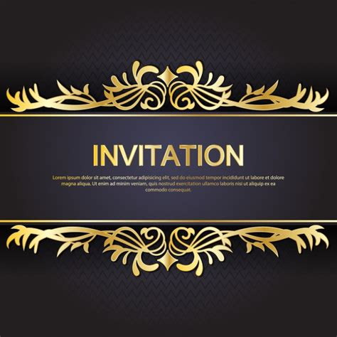 Gold and black invitation template Vector Premium Download