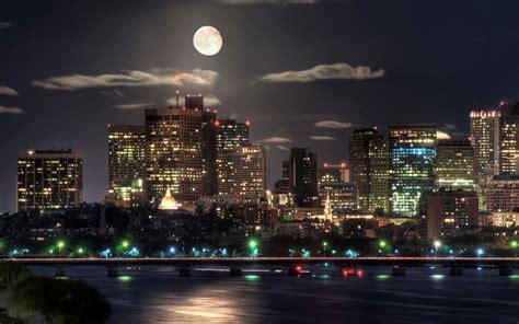 image detail  wallpaper night city lights moon hd
