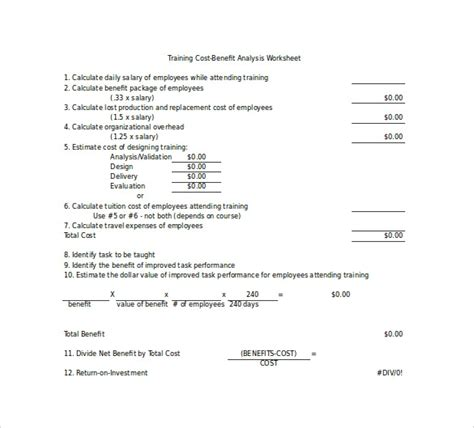 cost benefit analysis templates sample templates