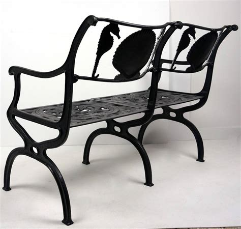 Garden Settee by Cast Aluminium Garden Settee With Seahorse And Shell Motif