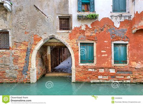 small narrow house plans brick house on small canal in venice italy royalty