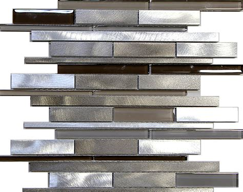 Glass And Metal Backsplash Tile : Sample- Metal Stainless Steel Linear Glass Mosaic Tile