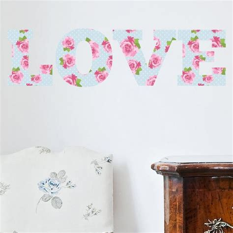 shabby chic wall stickers love shabby chic floral vintage wall sticker wallstickers co uk