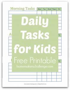 Daily Tasks for Kids - Free Printable