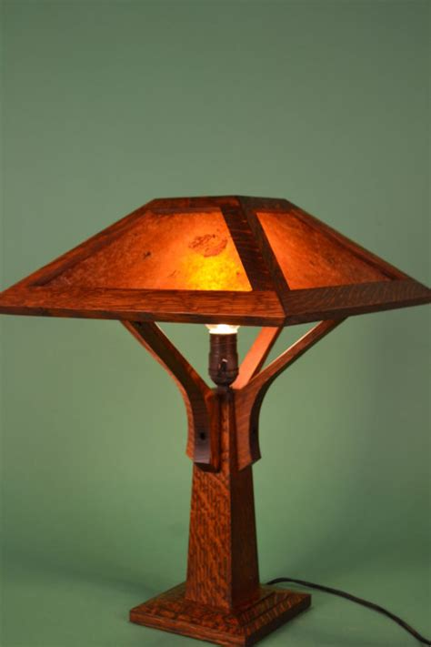 mission craftsman table lamp  brown rustic artistry