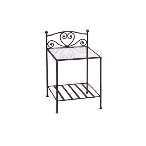 table de chevet fer forge chevet orneo en fer forg 233 verre coloris gris achat vente chevet chevet orneo en fer