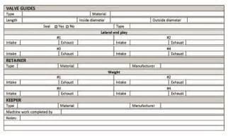 Engine Blueprinting Worksheet