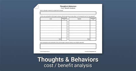thoughts behaviors costs  benefits worksheet