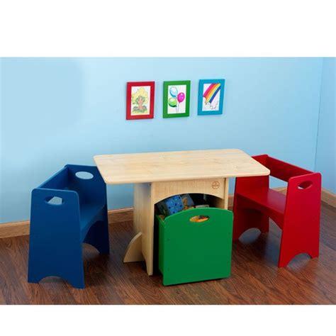 kidkraft kids wooden storage table   primary color