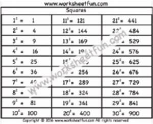 8x8 Multiplication Chart Squares Perfect Squares Free Printable Worksheets
