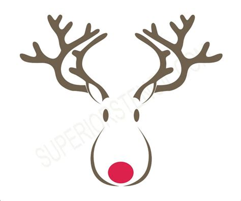 rudolph reindeer stencil 6 size options create your own