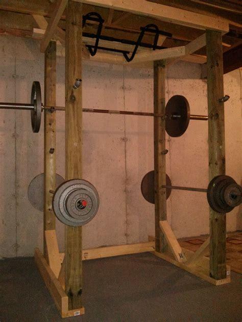 homemade wood power rack power rack diy gym equipment  home gym
