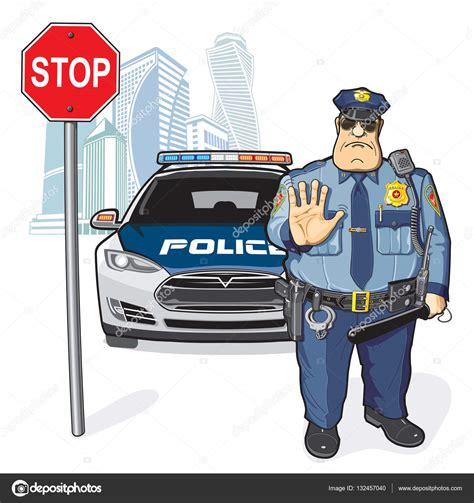 Patrulla de la policía, señal de stop — Archivo Imágenes