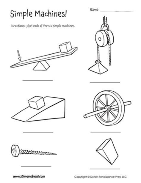 Simple Machines Worksheets  Six Simple Machines For Kids