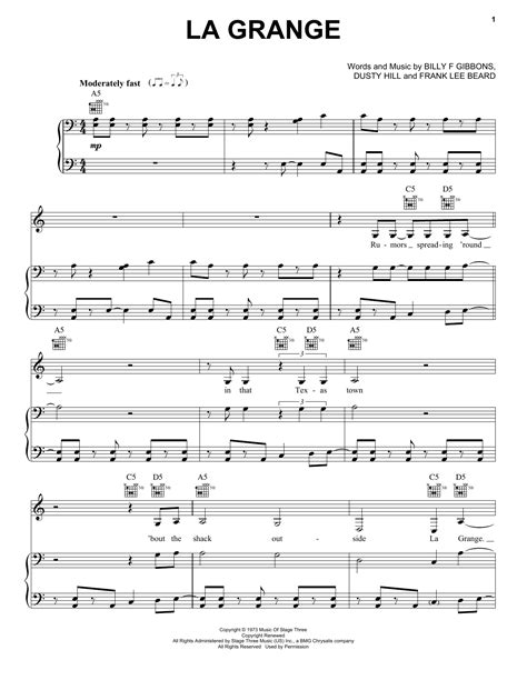 la grange chords and lyrics la grange sheet by zz top piano vocal guitar
