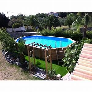 Sable Piscine Hors Sol : piscine bois ocea ubbink 470x860cm h 130cm liner bleu sable gris ~ Farleysfitness.com Idées de Décoration