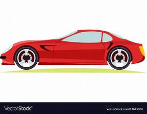 Red modern fast sports car on white background vector by ...