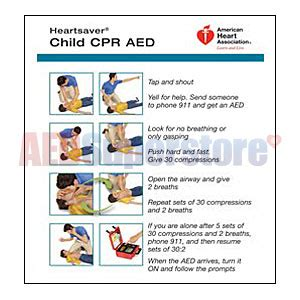 aha  heartsaver child infant cpr aed wallet card