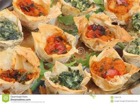 filo pastry cases canapes mediterranean filo pastry canapes royalty free stock