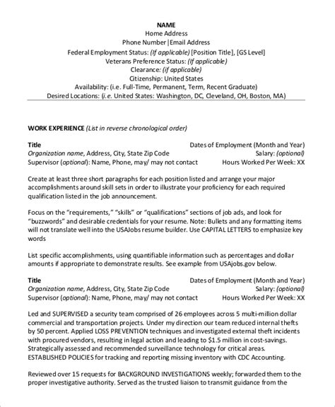 Federal Resume Sles by Sle Federal Resume 8 Exles In Word Pdf