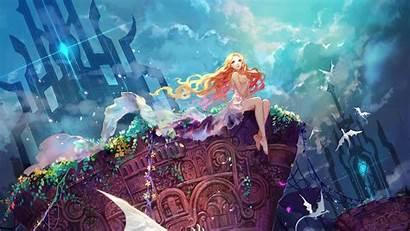 Anime Castle Magic Sky Dragon Portal Underwater