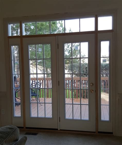 custom patio door with sidelights and transoms