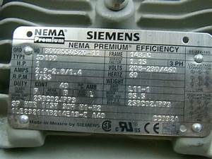Siemens 1 Hp 1755 Rpm Electric Motor Sd100