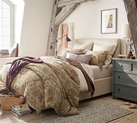 raleigh upholstered square low bed headboard pottery barn